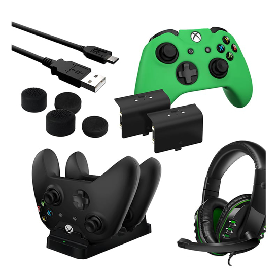 Picture of Sparkfox Player Pack 2xBattery Pack 1xCharge Cable 1xCharging Station 1xHeadset 1xStandard Thumb Grip Pack