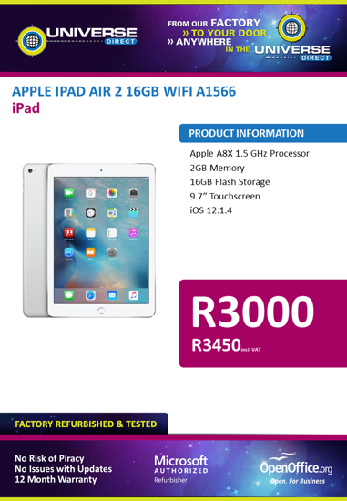 Picture of BEST DEAL-Apple iPad Air 2 16GB Wi-Fi A1566