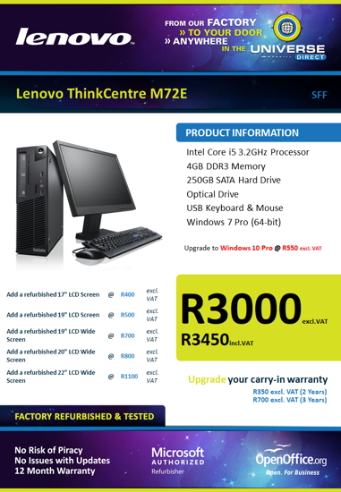 Picture of Lenovo ThinkCentre M72e i5 4GB 250GB W7P SFF