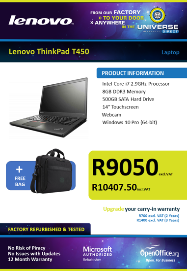 Picture of Lenovo ThinkPad T450 i7 Laptop Touch