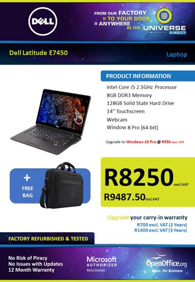 Picture of Dell Latitude E7450 i5 8GB 128GB W8P Touch Screen Laptop