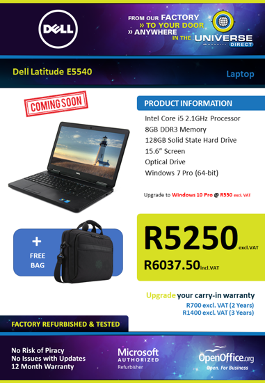 Picture of COMING SOON-Dell Latitude E5540 i5 128GB SSD Laptop