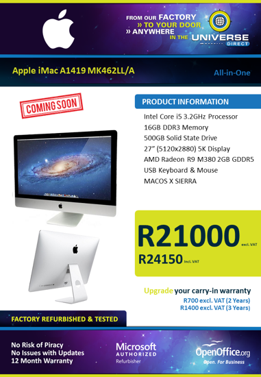 "Picture of COMING SOON-Apple iMac A1419 MK462LL/A All-in-One i5 16GB 500GB 27"" 5K Display MAC OS X SIERRA"