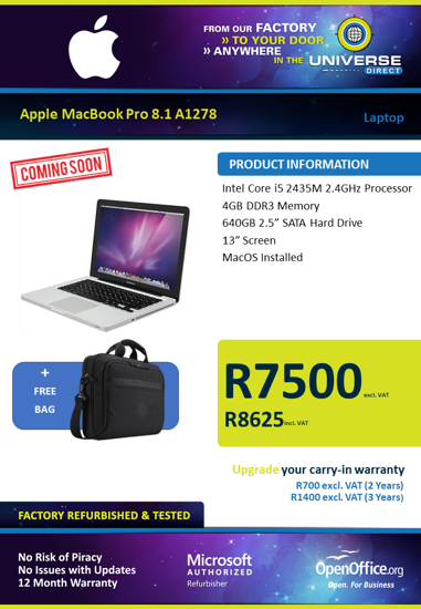 Picture of COMING SOON-Apple MacBook Pro 8.1 A1278 i5 4GB 640GB MacOS Laptop