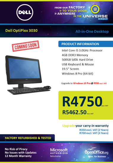 Picture of COMING SOON-Dell OptiPlex 3030 i5 4GB 500GB W8P All-In-One