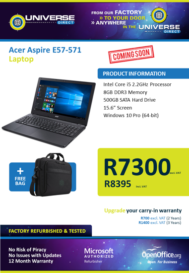 Picture of COMING SOON-Acer Aspire E57-571 i5 8GB 500GB W10P Laptop