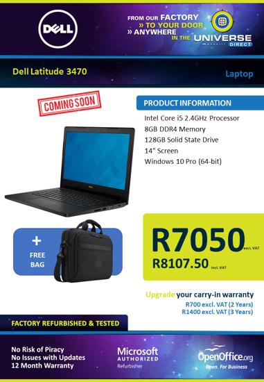 Picture of COMING SOON-Dell Latitude E3470 i5 8GB 128GB W10P Laptop
