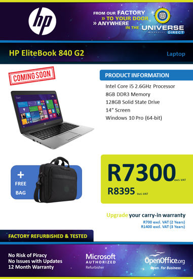 Picture of COMING SOON-HP EliteBook 840 G2 i5 8GB 128GB W10P Laptop