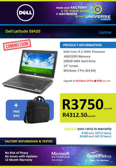 Picture of COMING SOON-Dell Latitude E6420 i5 4GB 500GB W7P Laptop