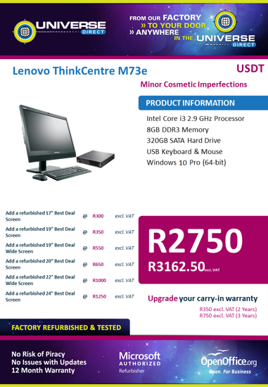 Picture of BEST DEAL-lenovo ThinkCentre M73e i5 8GB 320GB W10P USDT