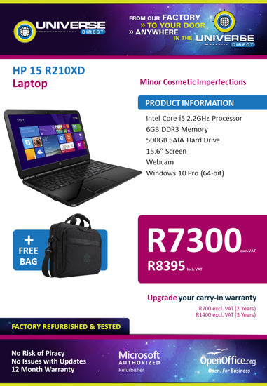 Picture of BEST DEAL-HP 15 R210XD i5 6GB 500GB W10P Laptop