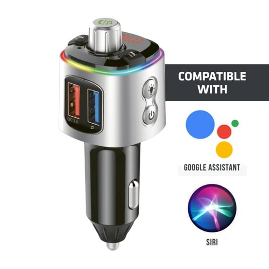 Picture of GIZZU Bluetooth 5.0 Hands Free Kit BC58 with FM transmitter RGB LED Interface 1 x Music USB Port|1 x QC3.0 Port|1 x MicroSD slot (64GB Max)