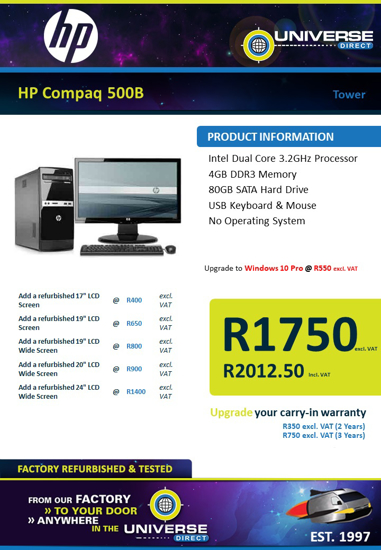 Picture of HP Compaq 500B 4GB 80GB No OS Tower