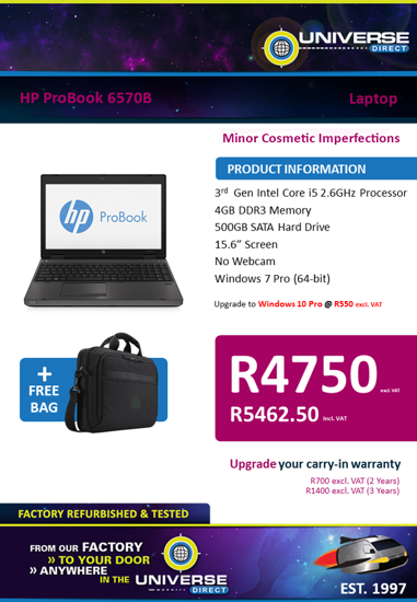 Picture of BEST DEAL-HP ProBook 6570B i5 4GB 500GB W7P Laptop
