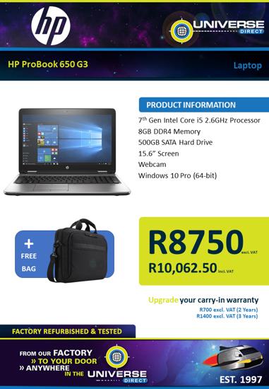 Picture of HP ProBook 650 G3 i5 8GB 500GB W10P Laptop