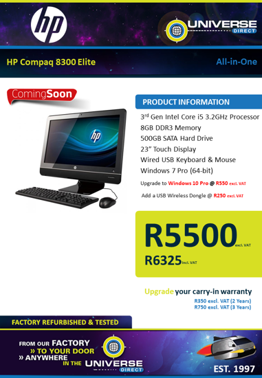 Picture of COMING SOON-HP Compaq 8300 Elite i5 8GB 500GB W7P All-in-One
