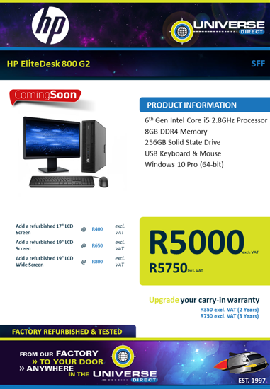 Picture of COMING SOON-HP EliteDesk 800 G2 i5 8GB 256GB W10P SFF