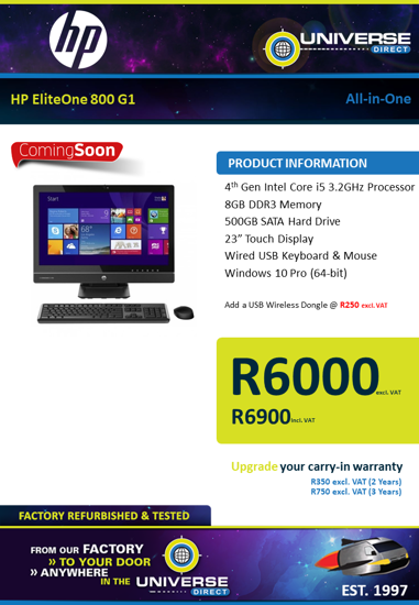 Picture of COMING SOON-HP EliteOne 800 G1 i5 8GB 500GB W10P All-in-One