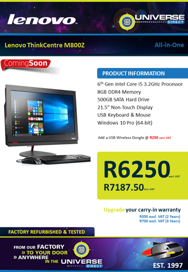 Picture of COMING SOON-Lenovo ThinkCentre M800Z i5 8GB 500GB W10P All-in-One