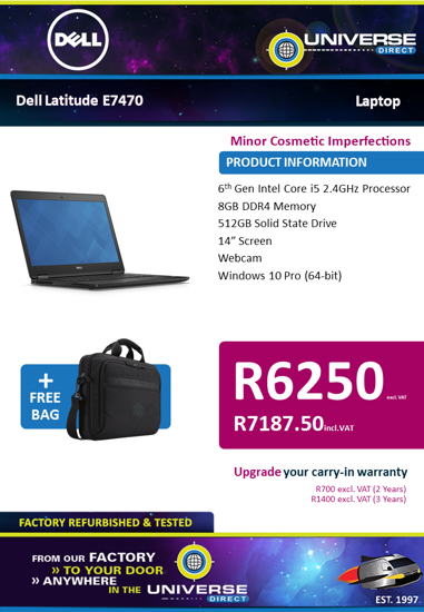 Picture of BEST DEAL-Dell Latitude E7470 i5 8GB 512 W10P Laptop