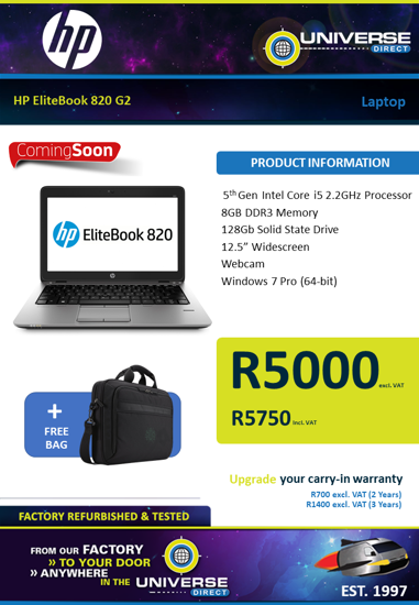 Picture of ARRIVING SOON-HP EliteBook 820 G2 i5 8GB 128GB W7P Laptop