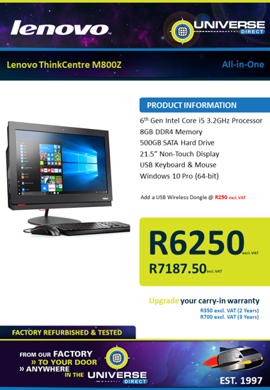 Picture of Lenovo ThinkCentre M800Z i5 8GB 500GB W10P All-in-One
