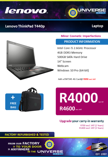 Picture of BEST DEAL-Lenovo ThinkPad T440p i5 4GB 500GB W10P Laptop