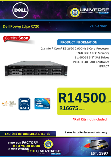 Picture of ARRIVING SOON-Dell PowerEdge R720 2U Server